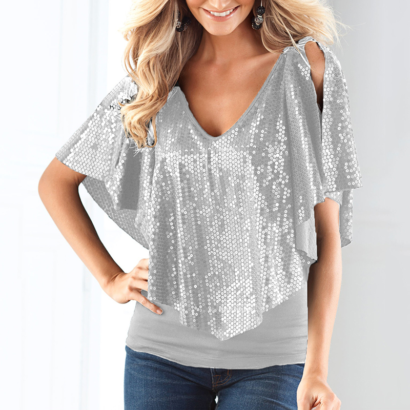 HOT Sequin Womens Sparkle Glitter Black/silver Coctail Party Top  Shirt Short Sleeve Cold Shoulder Blouse Summer Women