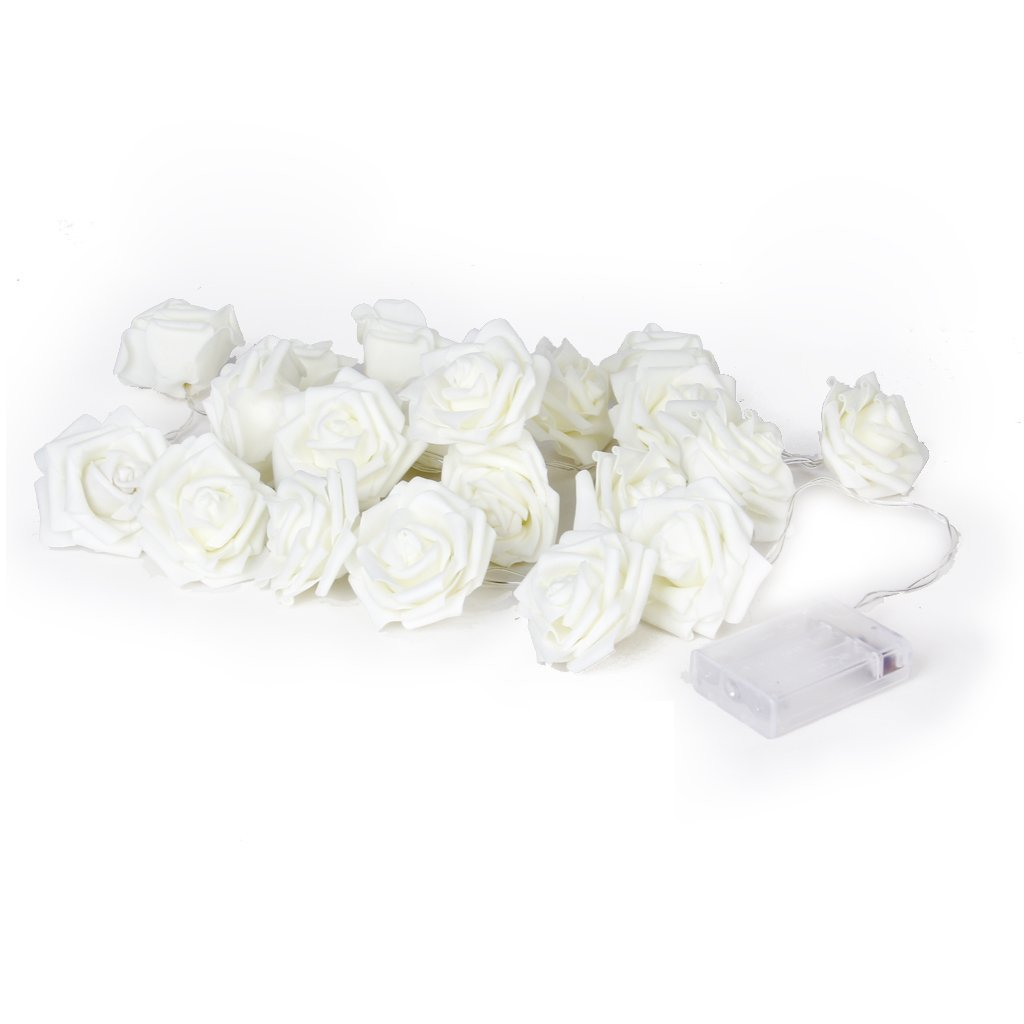 20Pcs Rose Flower Wedding Party Christmas Decoration String LED Lights Warm White