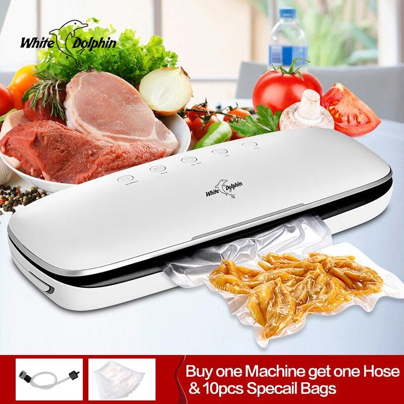 Melhor Máquina Seladora A Vácuo Elétrica 220 V 110 V Com 10 pcs Food Saver Sacos De Domicílios Automático de Embalagem A Vácuo de Alimentos máquina