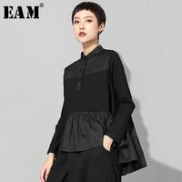 [EAM] 2019 New Autumn Winter Stand Collar Long Sleeve Black Loose Hem Pleated Stitch Irregular T shirt Women Fashion Tide JQ016