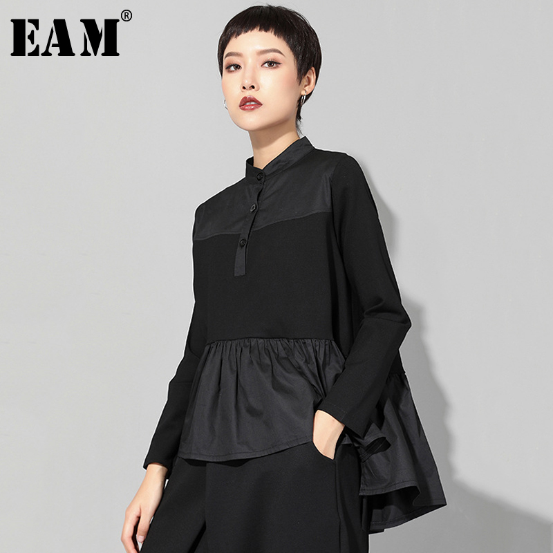 [EAM] 2020 New Spring Autumn Stand Collar Long Sleeve Black Loose Hem Pleated Stitch Irregular T-shirt Women Fashion Tide JQ016