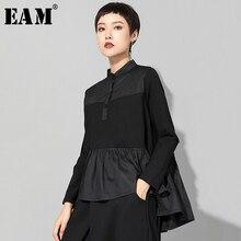 [Eam] 2020春の新作秋スタンド襟長袖黒裾プリーツステッチ不規則なtシャツの女性のファッション潮JQ016
