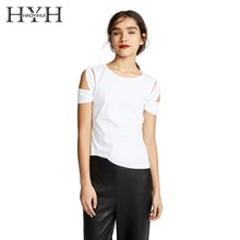 HYH HAOYIHUI Simple Sexy Hollow Shoulder Solid Color Basic Short Sleeve T-shirt Summer New Arrive
