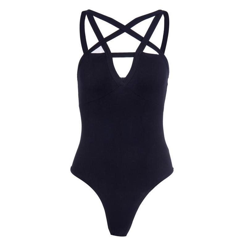 Rosetic Women Sexy Playsuits Gothic Club Black Chic Cool Streetwear Slim High Elasticity Plain Hollow Female Jumpsuits Rompers