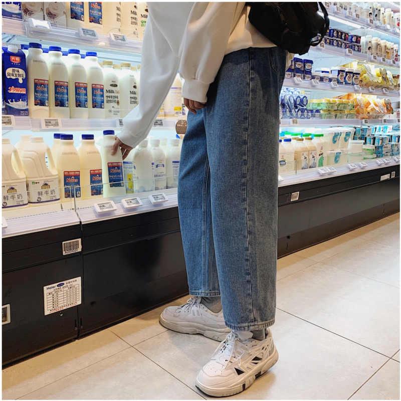 2019 ربيع الخريف أوصى الأسود جينز الرجال جينز غير رسمي بسيط فضفاض مستقيم بنطلون ذكر السراويل الزرقاء م 2XL