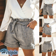 Summer Shorts 2019 New Women Summer Cotton Casual Loose Striped Shorts Lace Up High Waist Striped Shorts