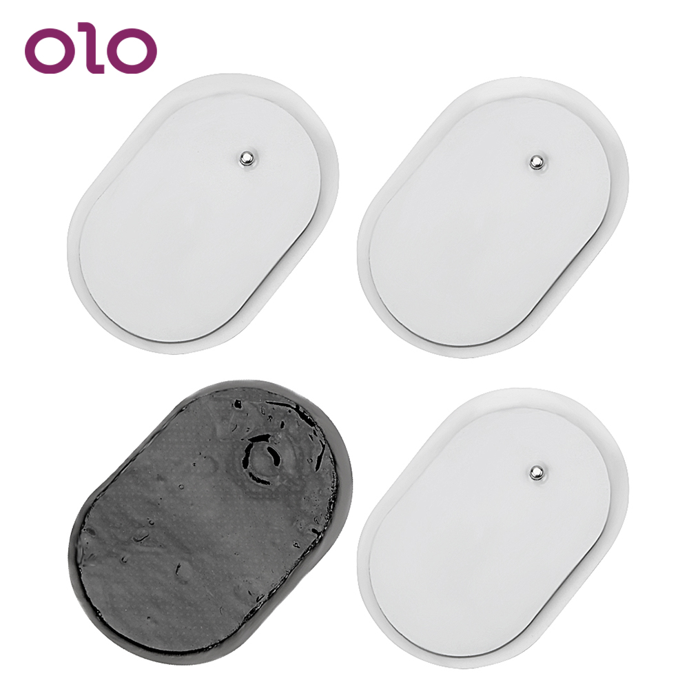 OLO 4 Pieces Electrode Patches Massage Pads Adsorption Paste Breast Clitoris Stimulation Adult Games Sex Toys For Women