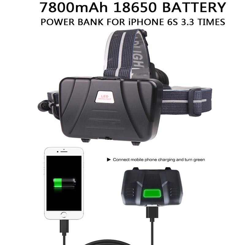 Yunmai cree XHP70 ヘッドライト強力な Led ヘッドランプ Q5 チップ内蔵充電式電源銀行ヘッドランプ懐中電灯トーチライト