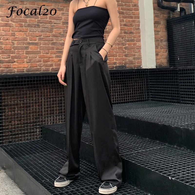 Focal20 Harajuku Solid Color Women   Pants   Trousers High Waist Summer Spring Loose Straight Black Female   Wide     Leg     Pants   Trousers