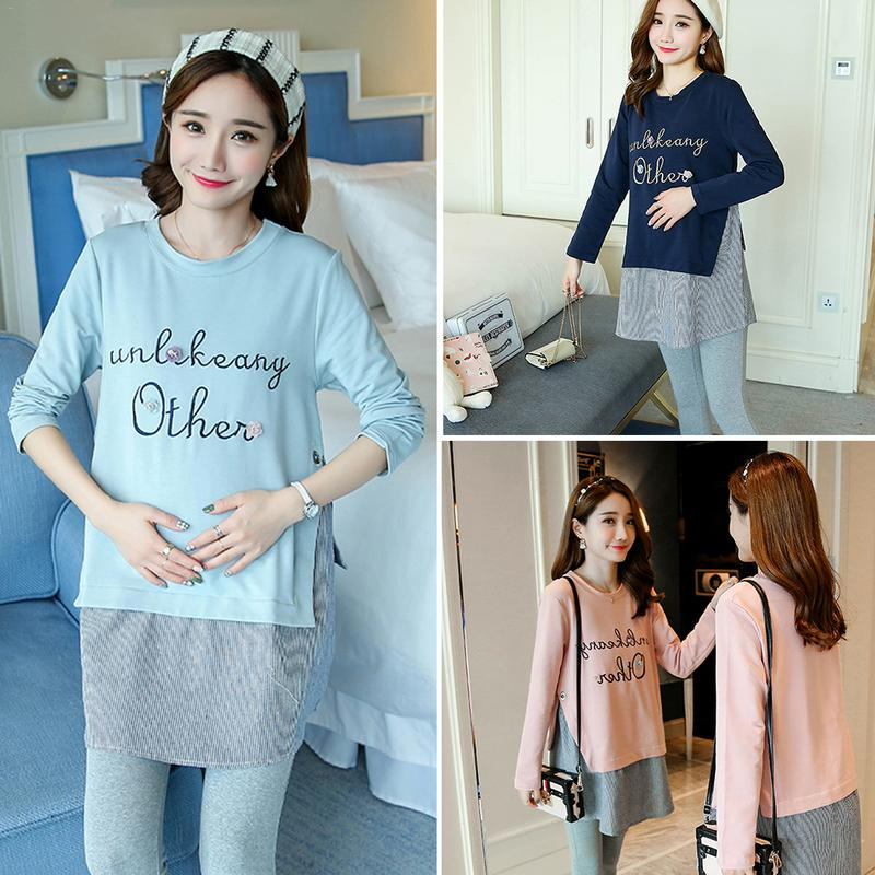 f473daab24281 Pregnant Women Clothes T shirt Long sleeved Loose Cotton Korean Version  Fashion Shirt Maternity Wear-in Blouses & Shirts from Mother & Kids on ...