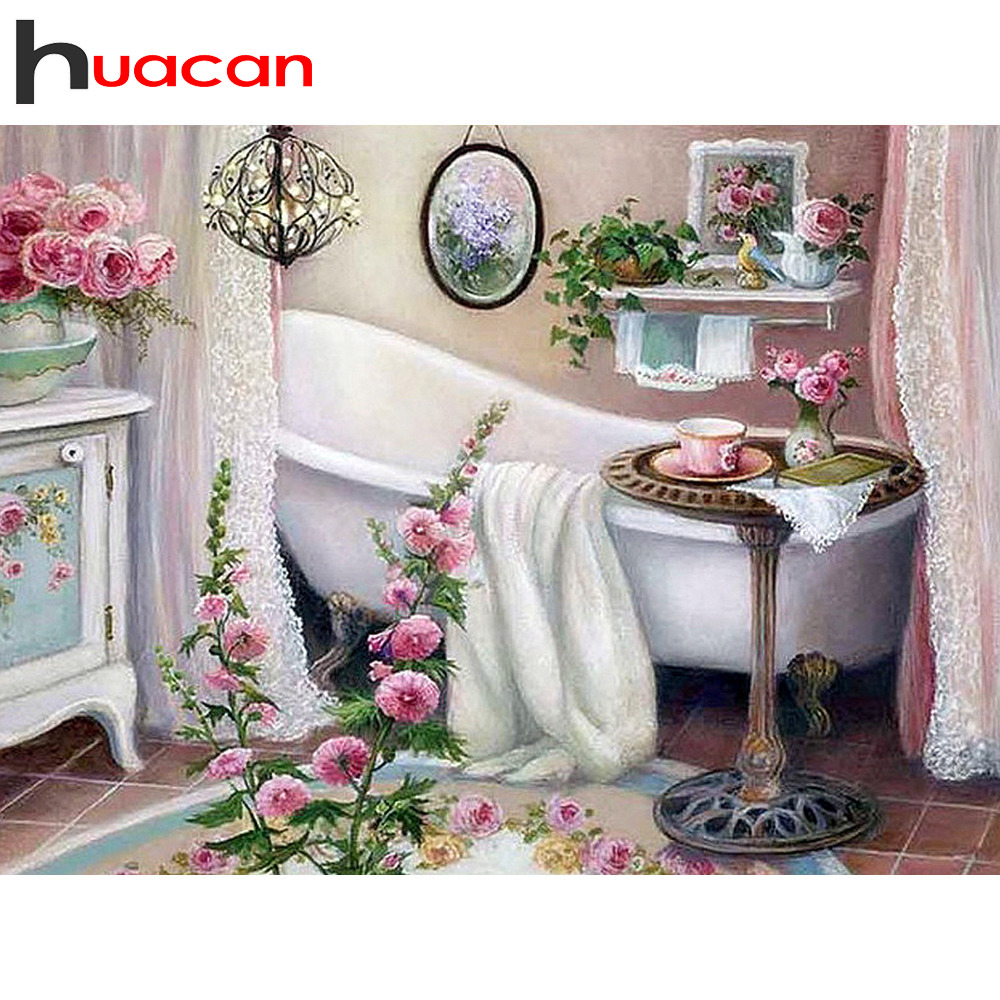 Huacan Diamond Painting Full Square Drill Scenery Pictures With Rhinestones Diamond Embroidery Bathtub Hobby And Handicraft