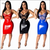 Sexy Lace PU Leather Sheath Dress For Women Spaghetti Strap Clothing Backless Low Cut PVC Latex High Waist Dresses Knee Length