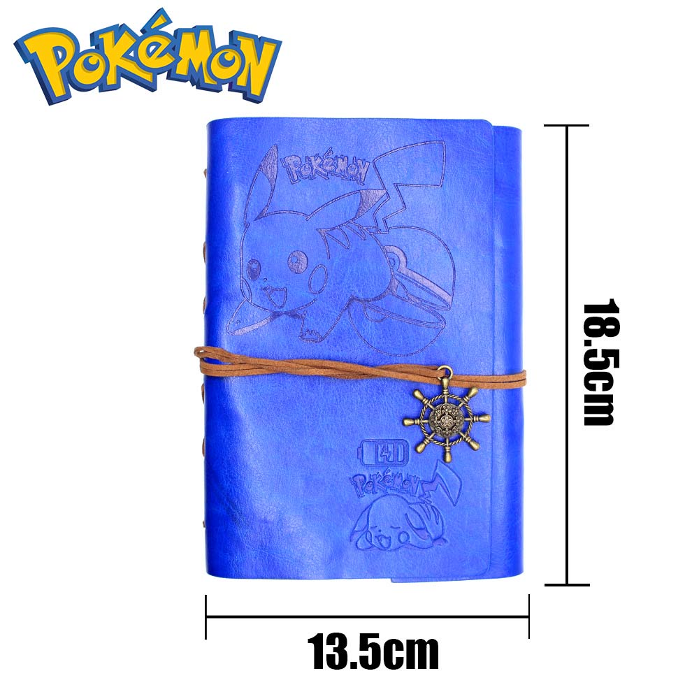 Giancomics Pocket Monsters Notebook Leather and Kraft Paper Retro Anime Notebook Pocketbook Learning Efficiency Student Ornament