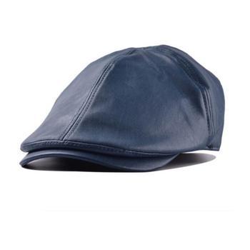 Gorra de cuero estilo Retro británico para hombre, boina de cuero de oveja de nuevo estilo, boina negra para caballero, cinturón de caza Gatsby
