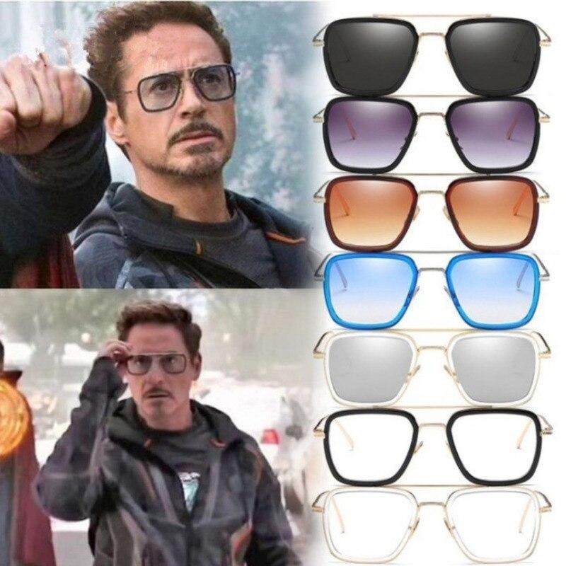 Tony stark fer homme lunettes de soleil pour hommes femmes lunette lentes gafas de sol mujer soleil feminino gothique vapeur punk oculos vintage