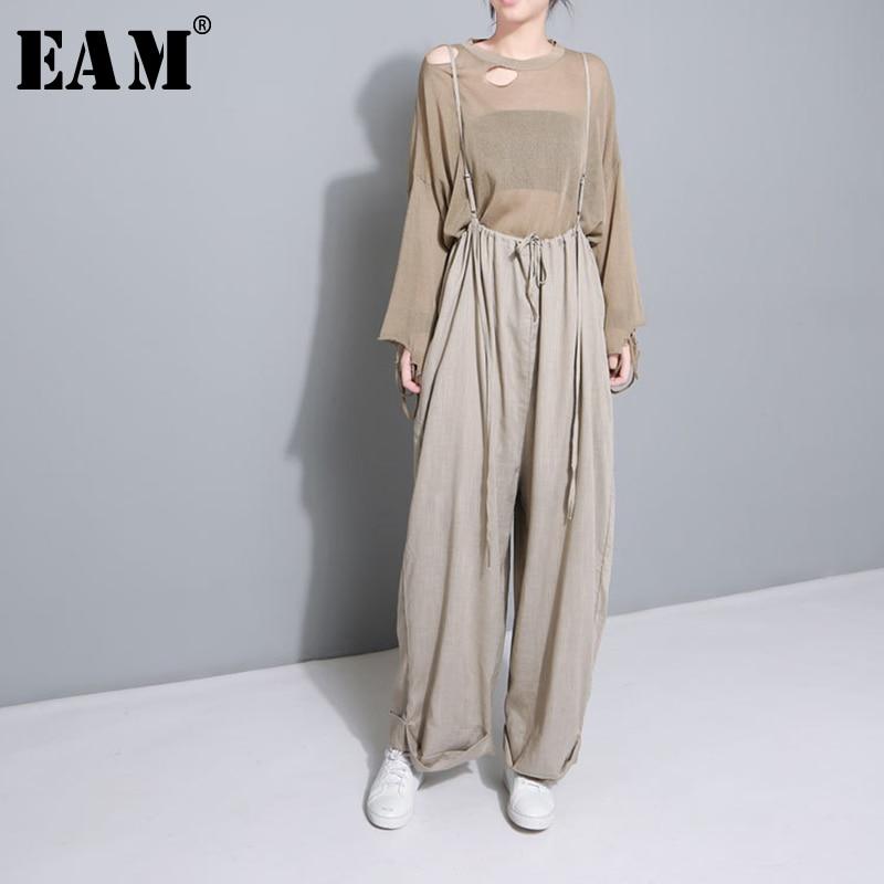 [EAM] 2020 New Spring High Waist Drawstring Loose Big Size Long Wasy Wearing Wide Leg Pants Women Trousers Fashion JF545