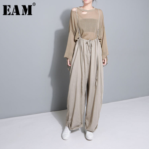 Image 1 - [Eam] 2020 nova primavera cintura alta drawstring solto tamanho grande longo wasy vestindo calças perna larga calças femininas moda jf545