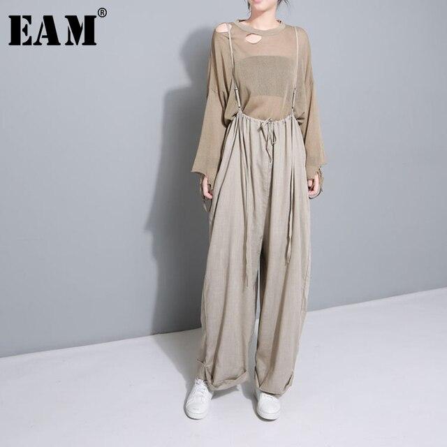 [Eam] 2020 nova primavera cintura alta drawstring solto tamanho grande longo wasy vestindo calças perna larga calças femininas moda jf545