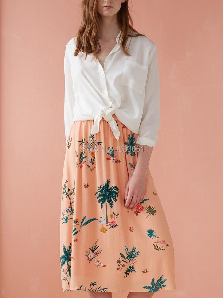 100% فسكوزي الوردي جوز الهند و زهرة طباعة تنورة طويلة 2019 الربيع الصيف النساء عطلة تنورة الشاطئ-في تنورة من ملابس نسائية على  مجموعة 2