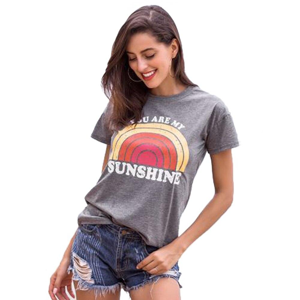 Camiseta mujer You Are My Sunshine Arco Iris estampado camiseta mujer cuello redondo Harajuku camiseta señoras Tops mujer ropa