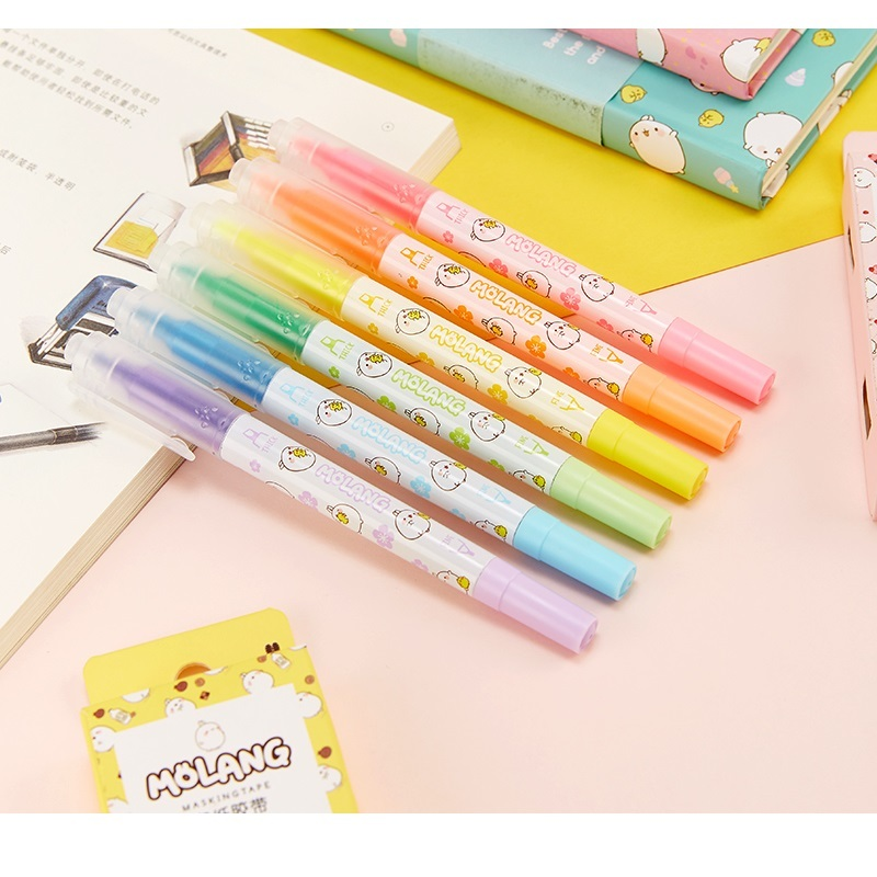 US $15 59 35% OFF|36 Pcs/Lot Cute Molang Color Highlighter Marker Pen Two  Side Marker Stationery Office School Supplies Papelaria Escolar A6007-in