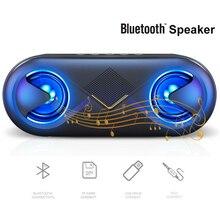 цена на S6 Portable Bluetooth Speaker HiFi Bluetooth 5.0 LED Speaker Subwoofer With Strong Bass TF AUX USB MINI Wireless Speaker