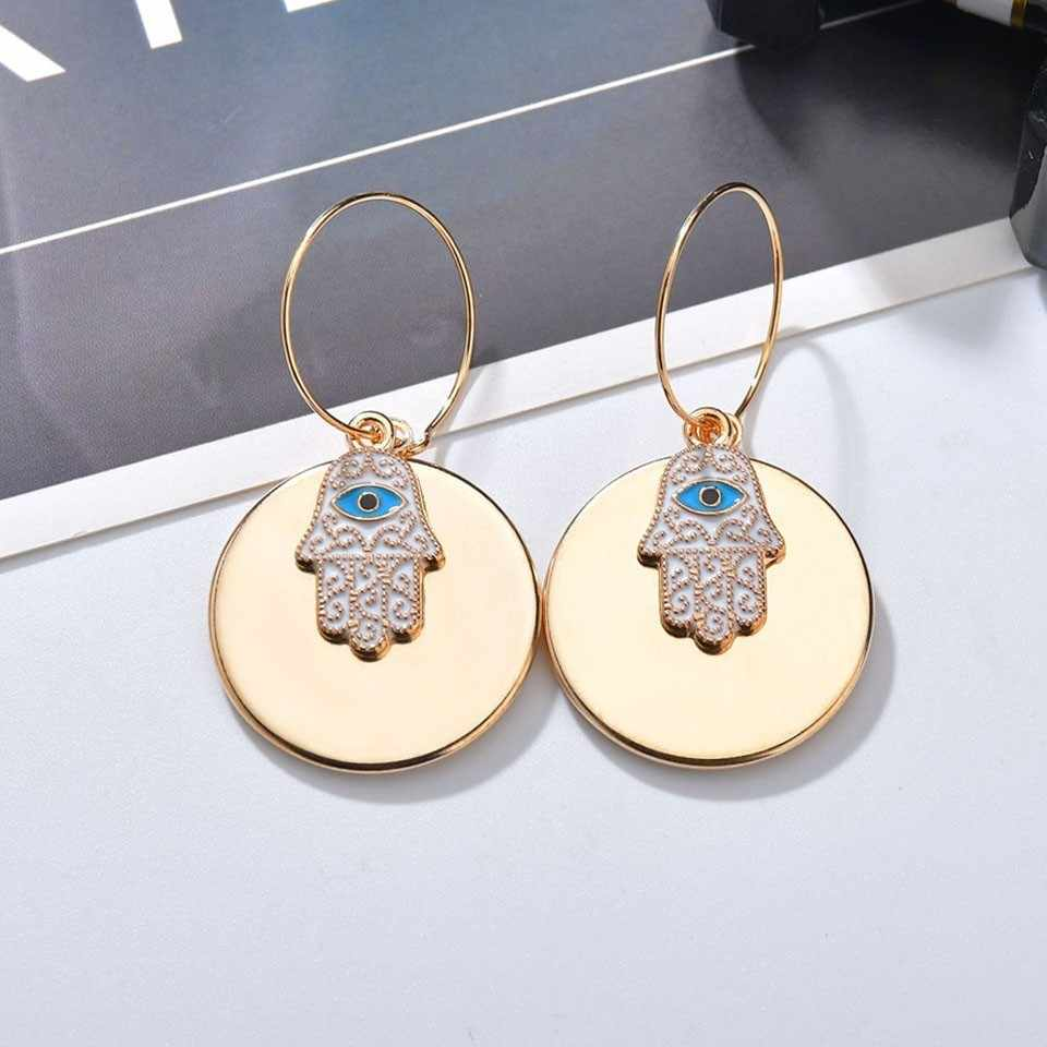 Fashion Women Round Plat With Lucky Hand Korean Earrings For Wedding Party Trendy Jewelry Female Cute Romantic Handmade Earings