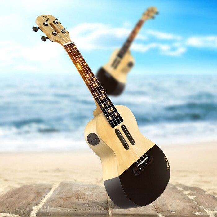Populele 23 pouces APP LED Bluetooth USB Smart ukulélé cadeau pour les débutants utilisateur-amical Pinao jouet Instrument de musique nouveau