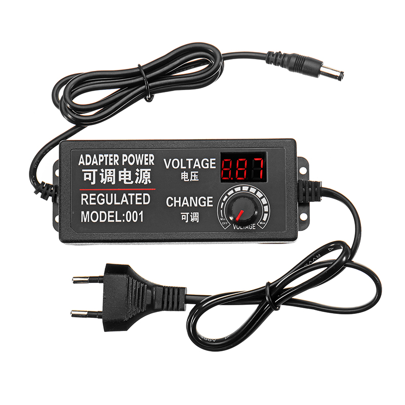 CLAITE 3-12V 5A 60W AC/DC Adapter Switching Power Supply Regulated Power Adapter Display Dimmer Speed Voltage Regulation Adapter