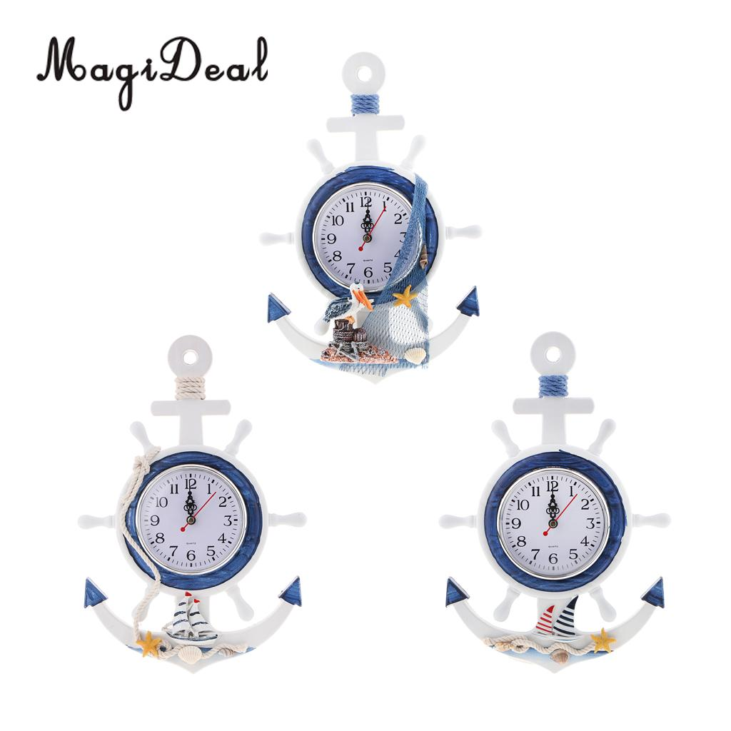 Us 12 59 19 Off Magideal Sea Beach Naudical Themed Anchor Clock Wall Hanging Decor Ornament Home Time In Wall Clocks From Home Garden On