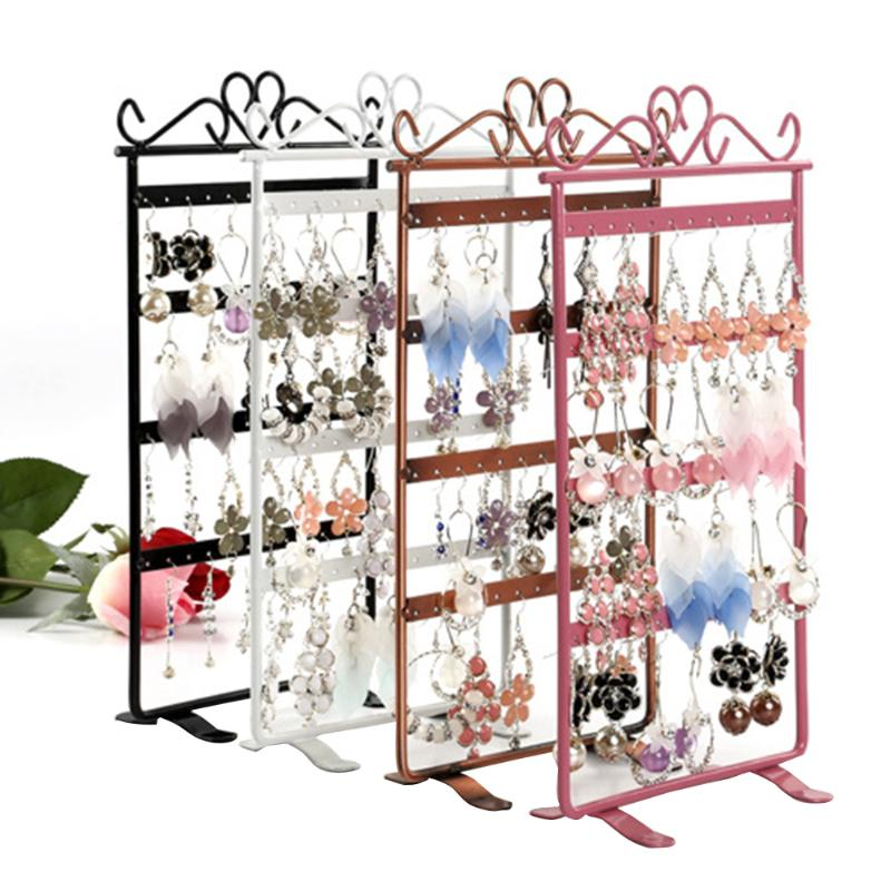 Fashion Earrings Necklace Ear Studs Jewelry Display Rack No fading, no rusting 48Holes Jewelry Stand Holder  Metal Stand Holder