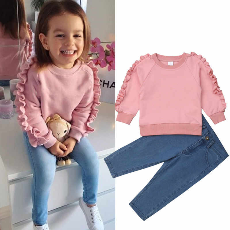 d4a17255df6 Toddler Kids Baby Girls clothes round neck long sleeve pullover Ruffle Tops  solid Button pocket Pants