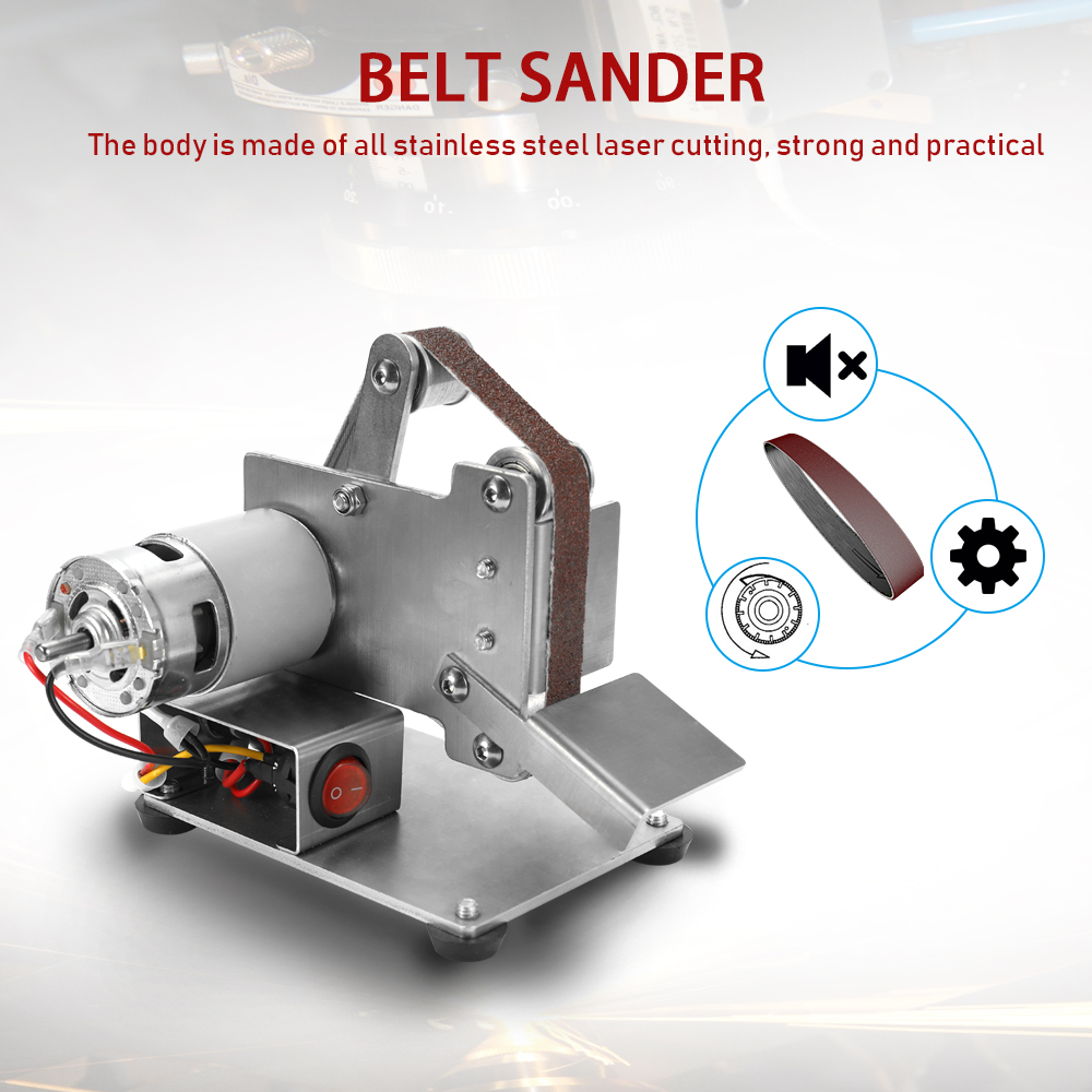 Multifunctional Belt Sander Mini Portable Grinder Electric Belt Sander DIY Polishing Grinding Machine Cutter Edges Sharpener