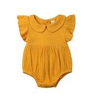 0-24 M Leuke Pasgeboren Baby Meisje Ruches Mouwloze Peter Pan Kraag Katoen Romper Jumpsuit Outfits Sunsuit Kleding Geel