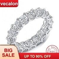 Vecalon женские обручальные кольца кольцо из стерлингового серебра 925 пробы принцесса огранка 4 мм 5A циркон обручальные кольца с фианитами для ...