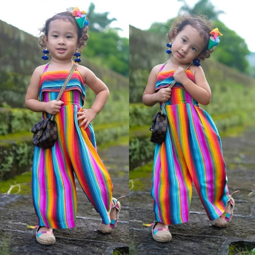 Newborn Toddler Kid Baby Girl Colorful Striped   Romper   Harem Pants Rainbow Jumpsuit Sunsuit Summer Clothes Outfits 1-6T