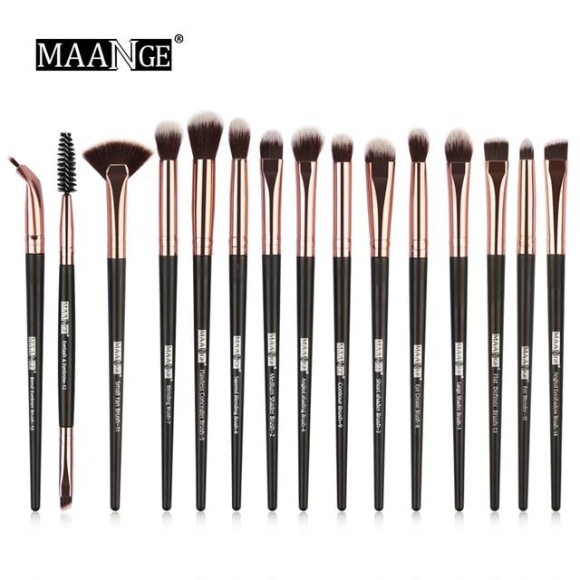 MAANGE 15 piezas pinceles de maquillaje sombra de ojos cepillo de cejas maquillaje cepillos pelo sintético del pelo cerdas cosméticos Kits de herramienta de belleza