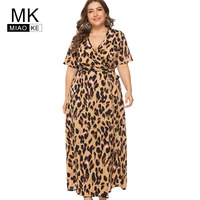 Miaoke Summer Plus Size long Print Leopard party dress women High Quality Clothing Fashion large size Sexy dress party night