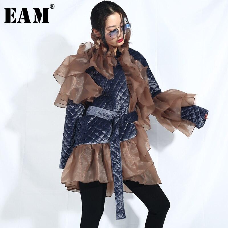 [EAM] 2019 New Spring Stand Collar Long Sleeve Organza Ruffles Split Joint Big Size Cotton-padded Coat Women   Parkas   Fashion JI58