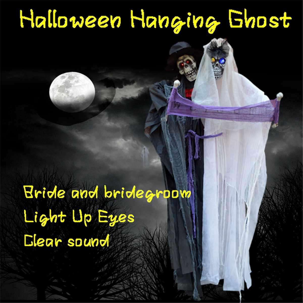 Nouveau Halloween décoration suspendue mariée marié fantôme fête Prop éclairer les yeux hantés maison Halloween décorations 180*80 cm
