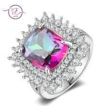 Luxury Rainbow Mystery Topaz Rings For Women Men Crystal Zircon 925 Silver Jewelry Ring Wedding Party Engagement Gift Wholesale