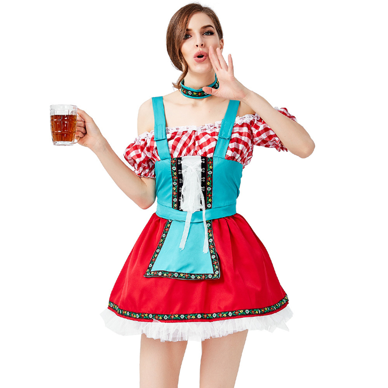 German Oktoberfest Costume Womens Beer Woman Dress Beer Woman Costume Cosplay Halloween Costume For Women in Holidays Costumes from Novelty Special Use