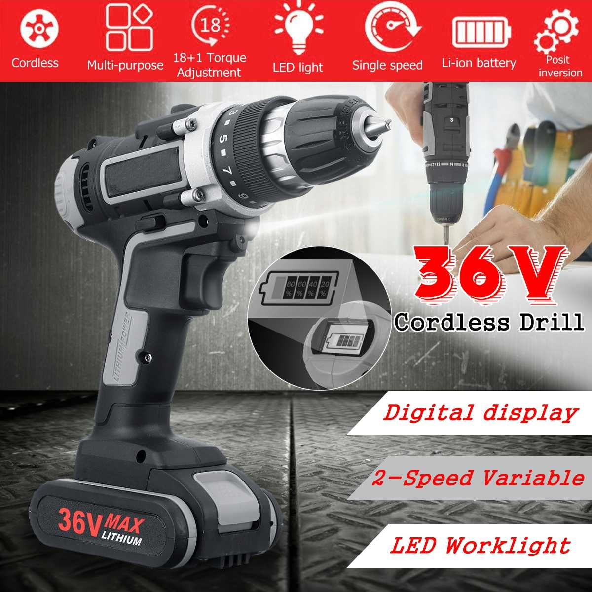 36V Cordless Electric Drill with Digital display Double-Speed Impact Drill screwdriver power tools with 1/2 Battery36V Cordless Electric Drill with Digital display Double-Speed Impact Drill screwdriver power tools with 1/2 Battery