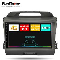 Funrover 9 octa core android8.1 2 din Car Radio Multimedia player for kia sportage 2010 2015 gps Navigation DSP 4G+64G DSP LTE