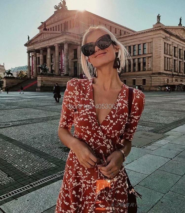 Wiskoza 100% Wrap V Neck drukuj Midi sukienka z paskiem więzi i boczne zapinane na guziki 2019 wiosna lato kobiety Floral sukienka z nadrukiem w Suknie od Odzież damska na  Grupa 1