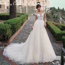 Ashley Carol Illusion A-Line Wedding Dress Deep Long Sleeve