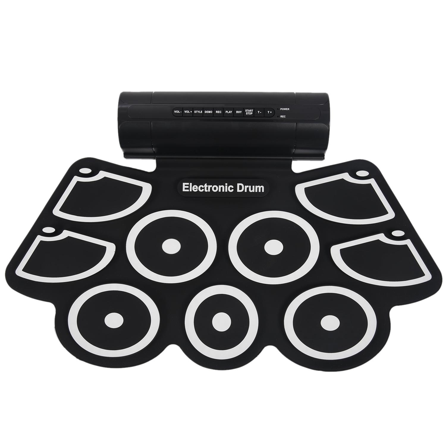 Portable Roll up Electronic USB MIDI Drum Set Kits 9 Pads Built in Speakers Foot Pedals