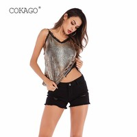 COKAGO Lace Halter V Neck Camis Sexy Summer Top Women Serpentine Snake Print Plus Size Woman Tank Top Casual Backless Satin Tops