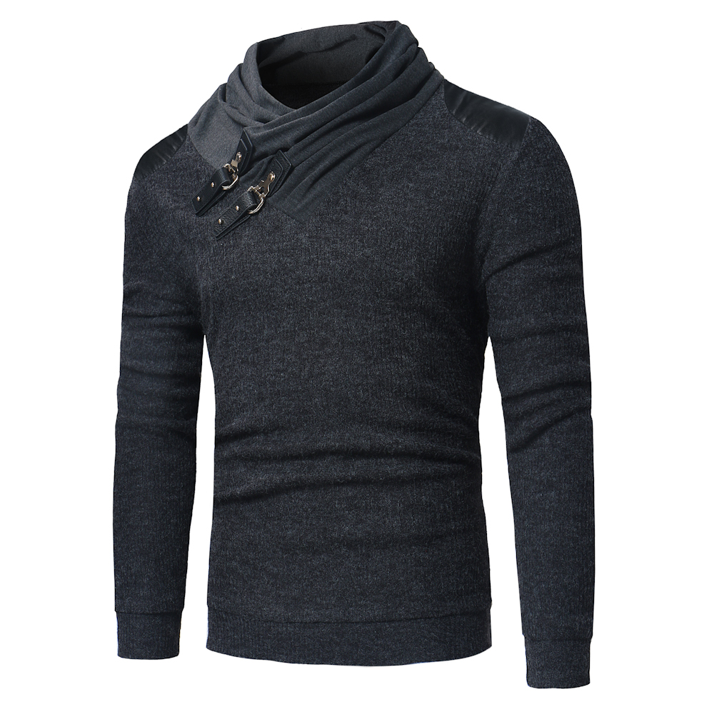 New Men's Sweaters Fashion Solid Color Pile Collar Leather Buckle Stitching Long-sleeved Slim Sweater Men's Knit Pullover