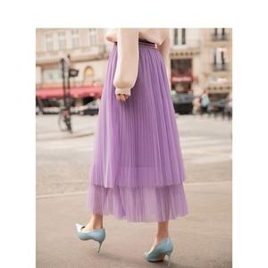 Image 2 - INMAN Spring New Arrival High Waist Slim Retro Literary Double Layer Gauze Women A line Skirt